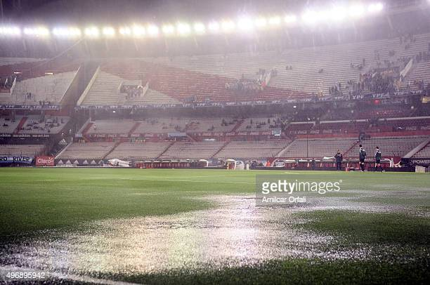 General view of the waterlogged pitch before a match between Argentina and Brazil as part of FIFA 2018 World Cup Qualifiers at Monumental Antonio...