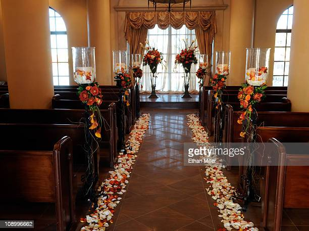 A general view of the wedding chapel at Ravella at Lake Las Vegas a Dolce Hotel Resort February 8 2011 in Henderson Nevada The property will open on...