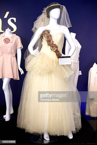 A general view of the weeding dress worn by Singer Madonna at the Julien's auctions media preview for Icons Idols Rock N' Roll event held at Juliens...