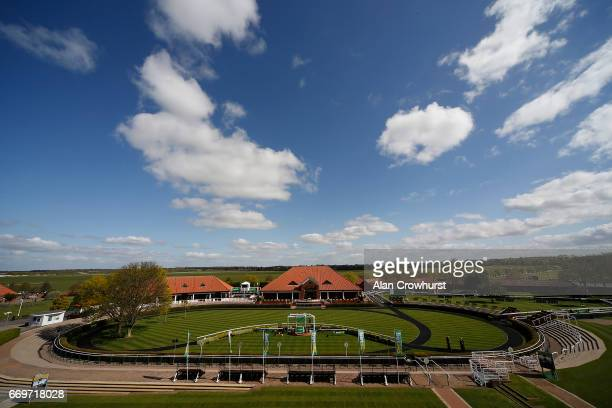 A general view of the weighing room and parade ring at Newmarket Racecourse on April 18 2017 in Newmarket England