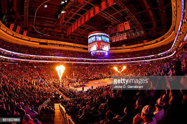 A general view of the Wells Fargo Center before the game of the New York Knicks and the Philadelphia 76ers January 11 2017 in Philadelphia...