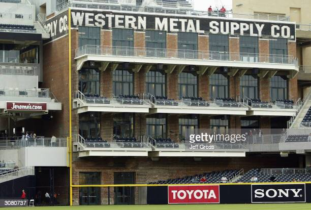 A general view of the Western Metal Supply Company building inside the newly constructed Petco Park home to the San Diego Padres during the Aztec...