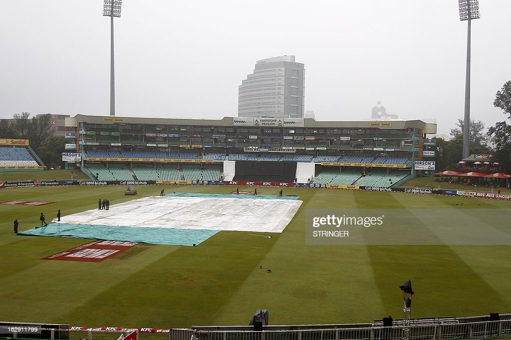 A general view of the wet venue taken on March 1, 2013 at Sahara Stadium in Durban, South Africa. Steady rain threatened to wash out the first Twenty20 international between South Africa and Pakistan at Kingsmead here on Friday. AFP PHOTO / STRINGER