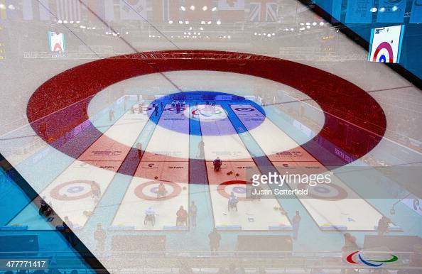 A general view of the Wheelchair Curling during the Round Robin Session 7 during day four of the Sochi 2014 Paralympic Winter Games at Ice Cube...
