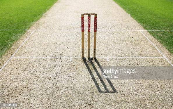 A general view of the wicket during day one of the Third Test match between England and India at the Oval on August 9 2007 in London England