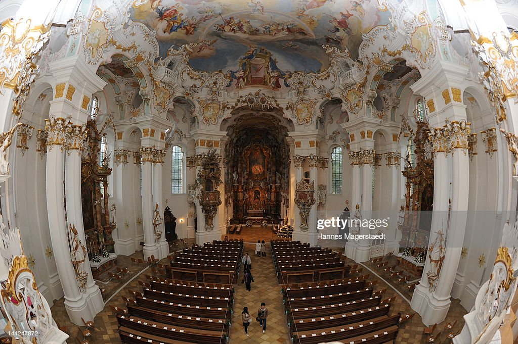 General view of the Wieskirche before the wedding of Princess Felipa von Bayern and Christian Dienst at Wieskirche on May 12, 2012 in Steingaden, Germany.