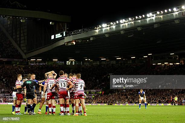 A general view of the Wigan Warriors during the First Utility Super League Grand Final between Leeds Rhinos and Wigan Warriors at Old Trafford on...