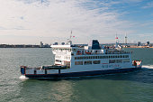 A general view of the Wightlink car ferry St Faith as it leaves Portsmouth harbour traveling across the Solent to the Isle of Wight on July 23 2016...