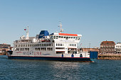 A general view of the Wightlink ferry St Cecilia leaving Portsmouth harbour to head across the Solent to the Isle of Wight on July 23 2016 in...