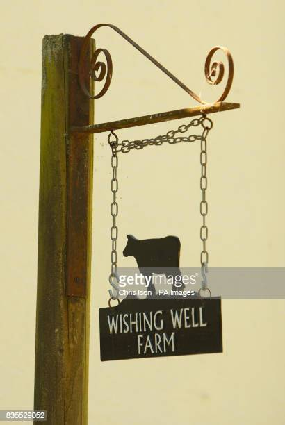A general view of the Wishing Well Farm sign at Brokerswood near Westbury Wiltshire home of Neil Puttick his Japanese wife Kazumi and their son...