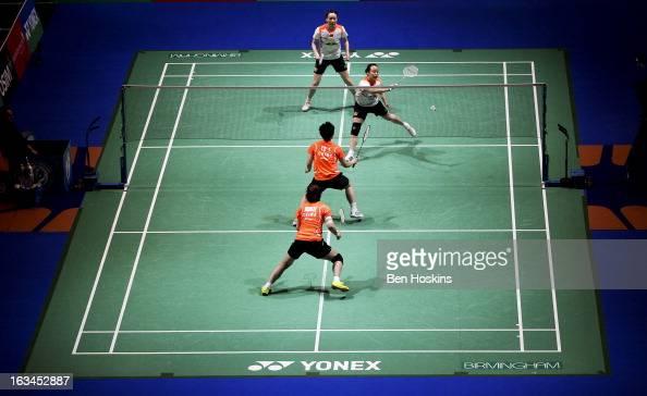 General view of the women's doubles final between Wang Xiaoli and Yu Yang of China and Cheng Shu and Zhao Yunlei of China during Day 6 of the Yonex...