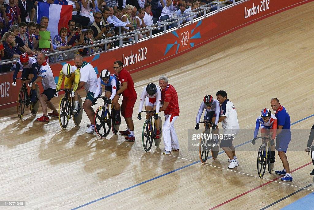 A general view of the Women's Keirin Track Cycling final is seen at the Velodrome on August 3, 2012 in London, England.