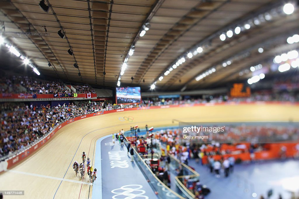A general view of the Women's Keirin Track Cycling is seen at the Velodrome on August 3, 2012 in London, England.
