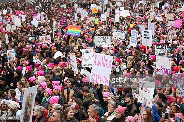 General view of the Women's March on Washington on January 21 2017 in Washington DC
