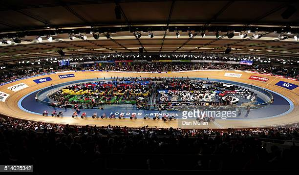 A general view of The Women's Omnium Points Race during Day Five of the UCI Track Cycling World Championships at Lee Valley Velopark Velodrome on...