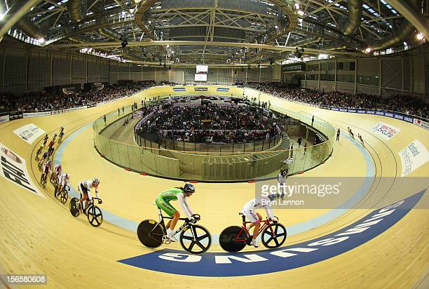 A general view of the Women's Omnium Points race during day two of the UCI Track Cycling World Cup at Sir Chris Hoy Velodrome on November 17 2012 in...