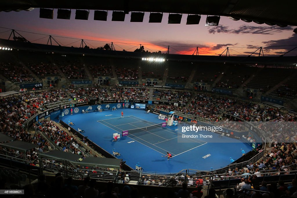 A general view of the womens singles final between Angelique Kerber of Germany and Tsvetana Pironkova of Bulgaria during day six of the Sydney International at Sydney Olympic Park Tennis Centre on January 10, 2014 in Sydney, Australia.