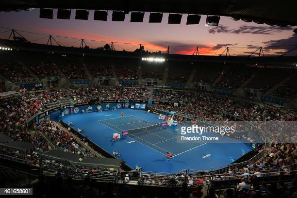 A general view of the womens singles final between Angelique Kerber of Germany and Tsvetana Pironkova of Bulgaria during day six of the Sydney...
