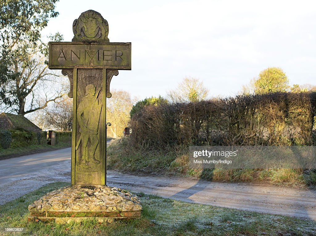 A general view of the wooden Anmer village sign in Anmer on January 13, 2013 in King's Lynn, England. It has been reported that Queen Elizabeth II is to give Anmer Hall to Prince William, Duke of Cambridge and Catherine, Duchess of Cambridge to be their country house.