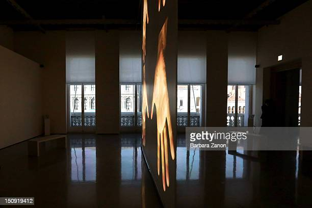 General view of the work of Bruce Nauman during the press preview of 'La Voce delle Immagini' Exhibition at Palazzo Grassi on August 29 2012 in...