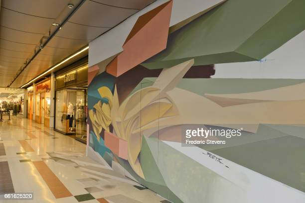 A general view of the work of Italian streetartist Peeta displayed in the commercial center of Bercy 2 near for the Street Art Anamorphose Project...