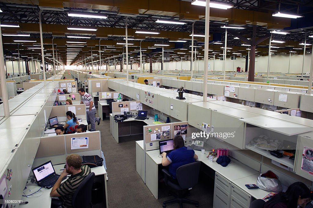general view of the workers place at the IBM office in Hortolandia, about 100km north from Sao Paulo, Brazil on September 14, 2012. AFP PHOTO/Yasuyoshi CHIBA