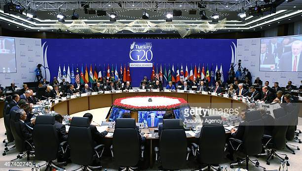 A general view of the Working session1 on the 'Inclusive Growth Global Economy Growth Strategies Employment and Investment Strategies' during the G20...