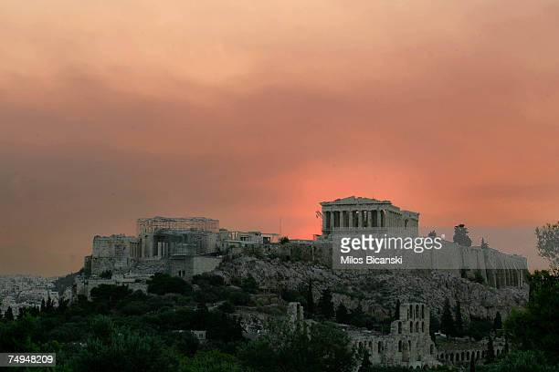 A general view of the world famous Acropolis with smoke partially blocking the sky on June 29 2007 in Athens Greece Firefighters and troops have...