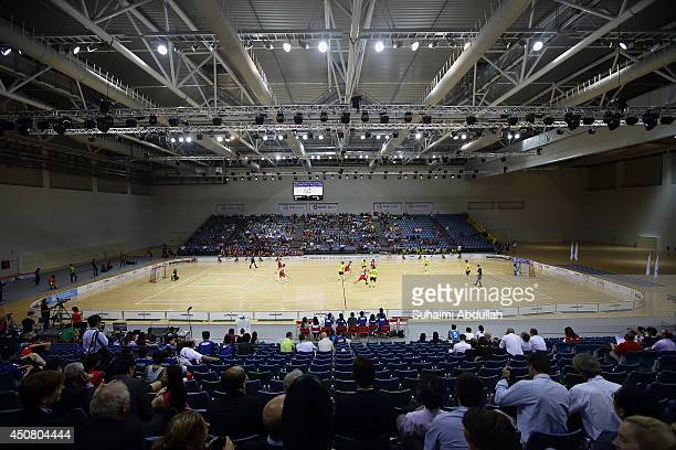 A general view of the World University Championship Floorball match between Malaysia and Singapore at the Sports Hub OCBC Arena on June 18 2014 in...