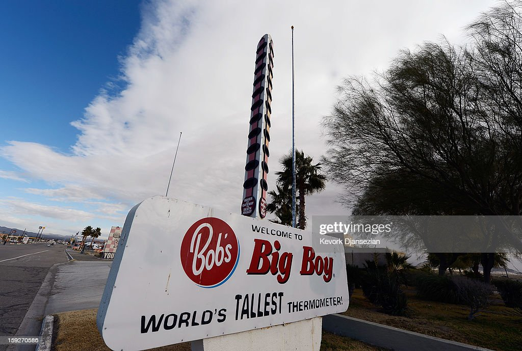 A general view of the world's tallest thermometer on January 10, 2013 in Baker, California. Erected in 1991 by a local businessman and measuring 134-feet in height to commemorate the United States' record temperature of 134 degrees Fahrenheit, the thermometer has been billed as the world's tallest. The current owner has now placed the landmark up for sale due to the burden of its running costs, setting an asking price of $1.75 million.