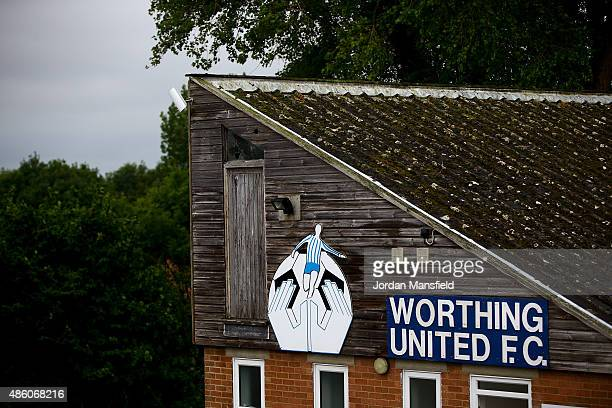 A general view of the Worthing United ground ahead of the Southern Combination Football League Premier Division match between Worthing United and...