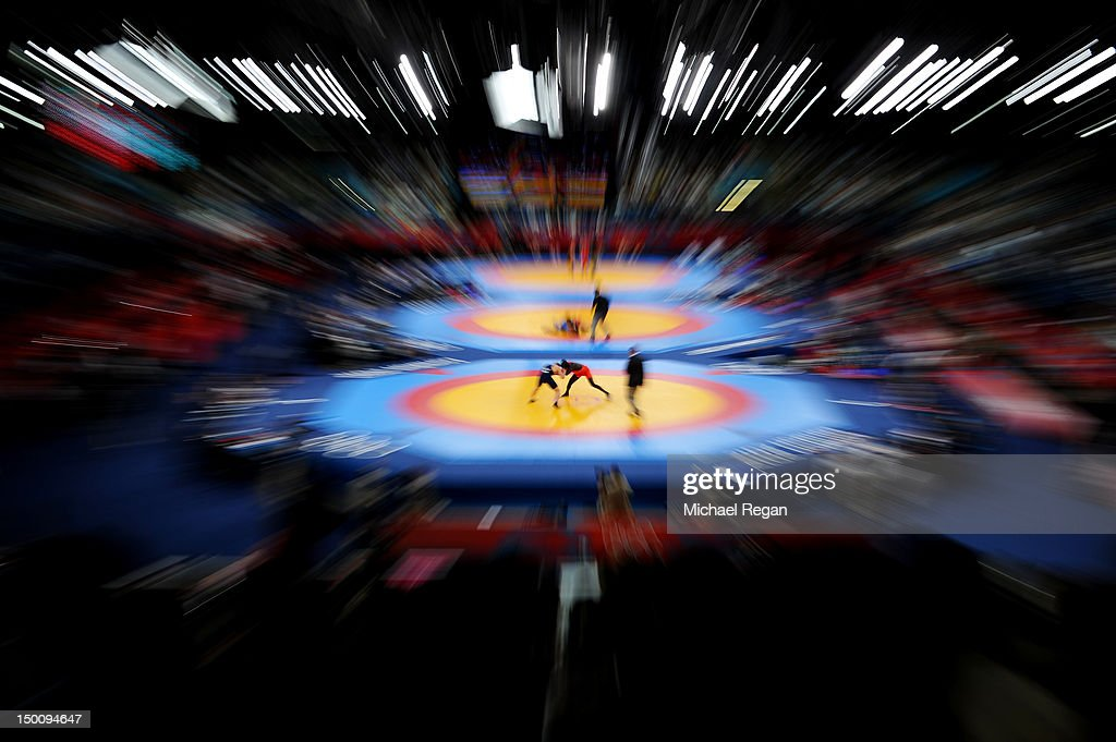 A general view of the wrestling on Day 14 of the London 2012 Olympic Games at ExCeL on August 10 2012 in London England