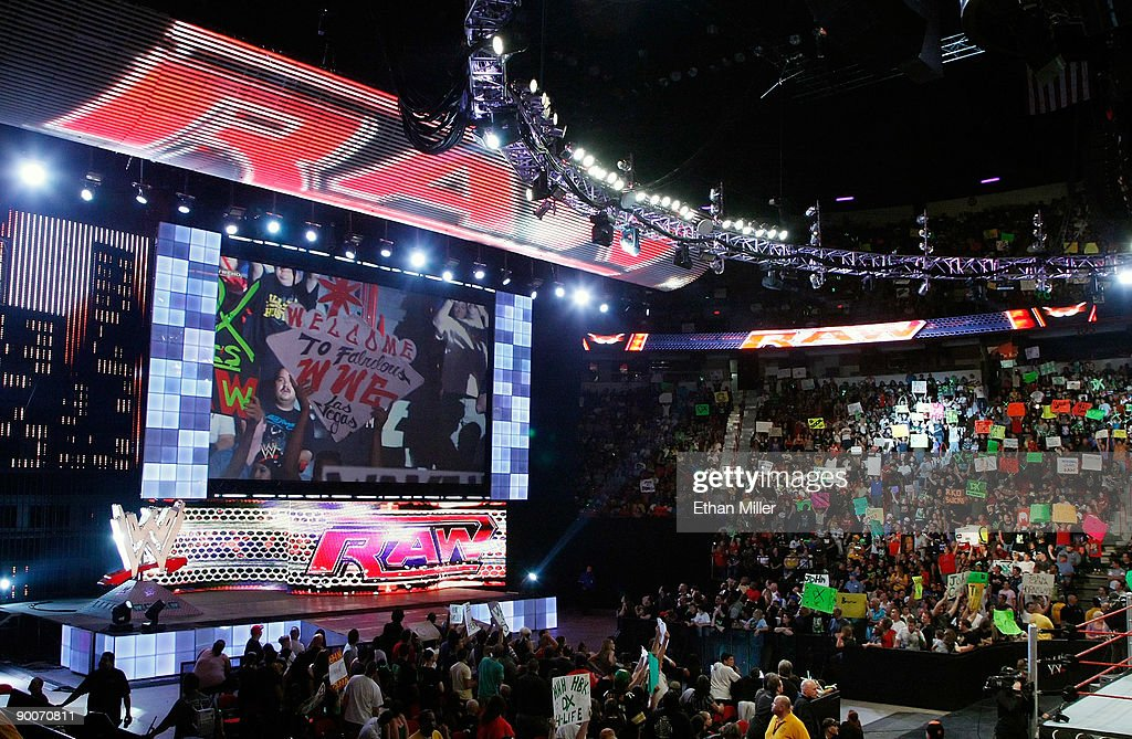 A general view of the WWE Monday Night Raw show at the Thomas & Mack Center August 24, 2009 in Las Vegas, Nevada.