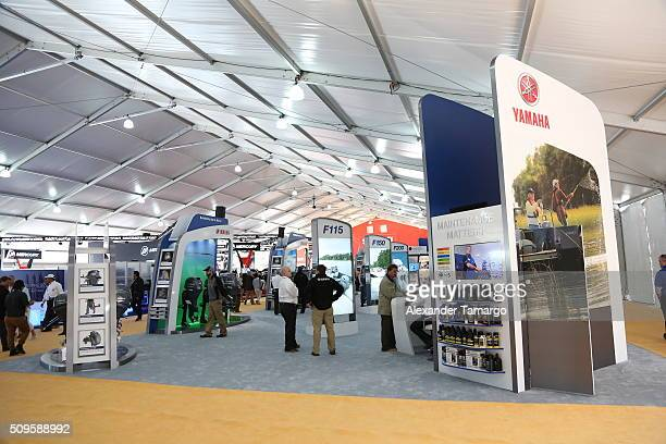 A general view of the Yamaha Motor Co booth at the Miami International Boat Show on February 11 2016 in Miami Florida