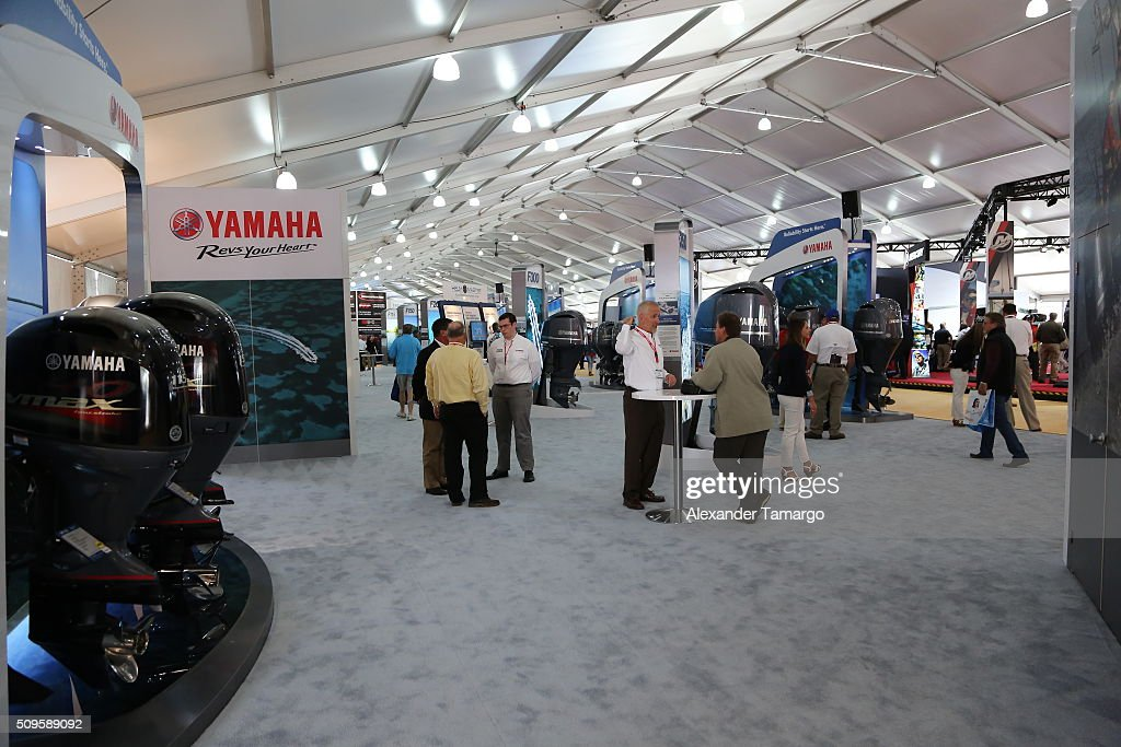 A general view of the Yamaha Motor Co. booth at the Miami International Boat Show on February 11, 2016 in Miami, Florida.