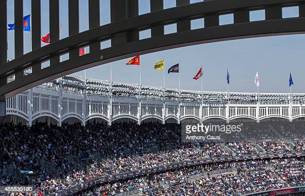 A general view of the Yankee Stadium during the Opening Day game between the Toronto Blue Jays and New York Yankees on Monday April 6 2015 in the...