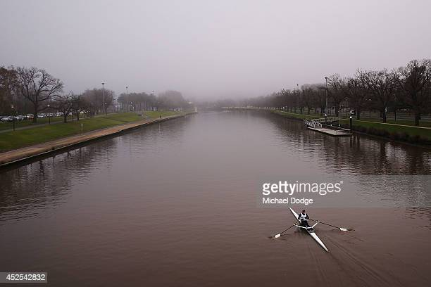 A general view of the Yarra River is seen from Swan Street Bridge as fog hides the city buidings on July 23 2014 in Melbourne Australia Low...