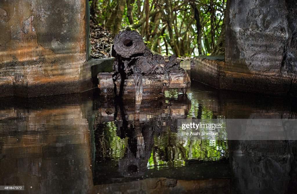 A general view of the Yoakeyama ruins on Chichijima Island on May 28 2015 in Ogasawara Tokyo Japan Along with the remains of fortresses reminders of...