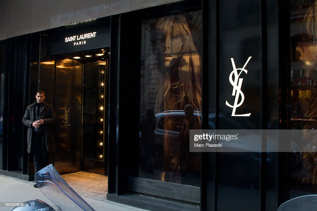 A general view of the 'Yves Saint Laurent' store on February 20, 2013 in Paris, France.
