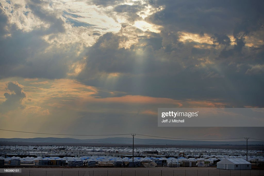 ZA'ATARI JORDAN JANUARY 30 A general view of the Za'atari refugee camp on January 30 2013 in Za'atari Jordan Record numbers of refugees are fleeing...