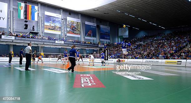 General view of the ZF Arena during the Volleyball Bundesliga match between VfB Friedrichshafen and Berlin Recycling Volleys at ZF Arena on May 2...