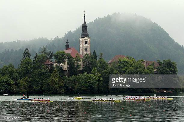 General view of theMen's Eight Final during the 2010 Rowing World Cup on Lake Bled on May 30 2010 in Bled Slovenia