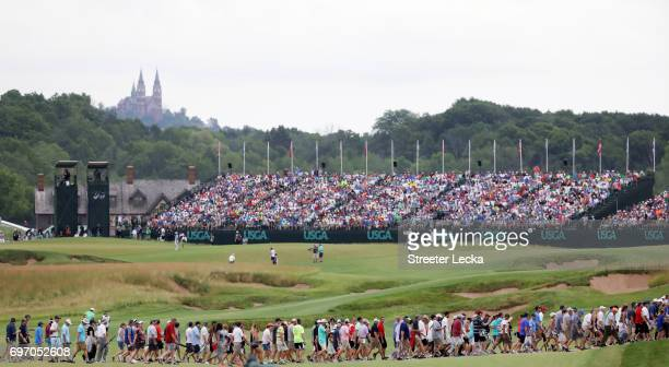 A general view of thr 18th hole during the third round of the 2017 US Open at Erin Hills on June 17 2017 in Hartford Wisconsin