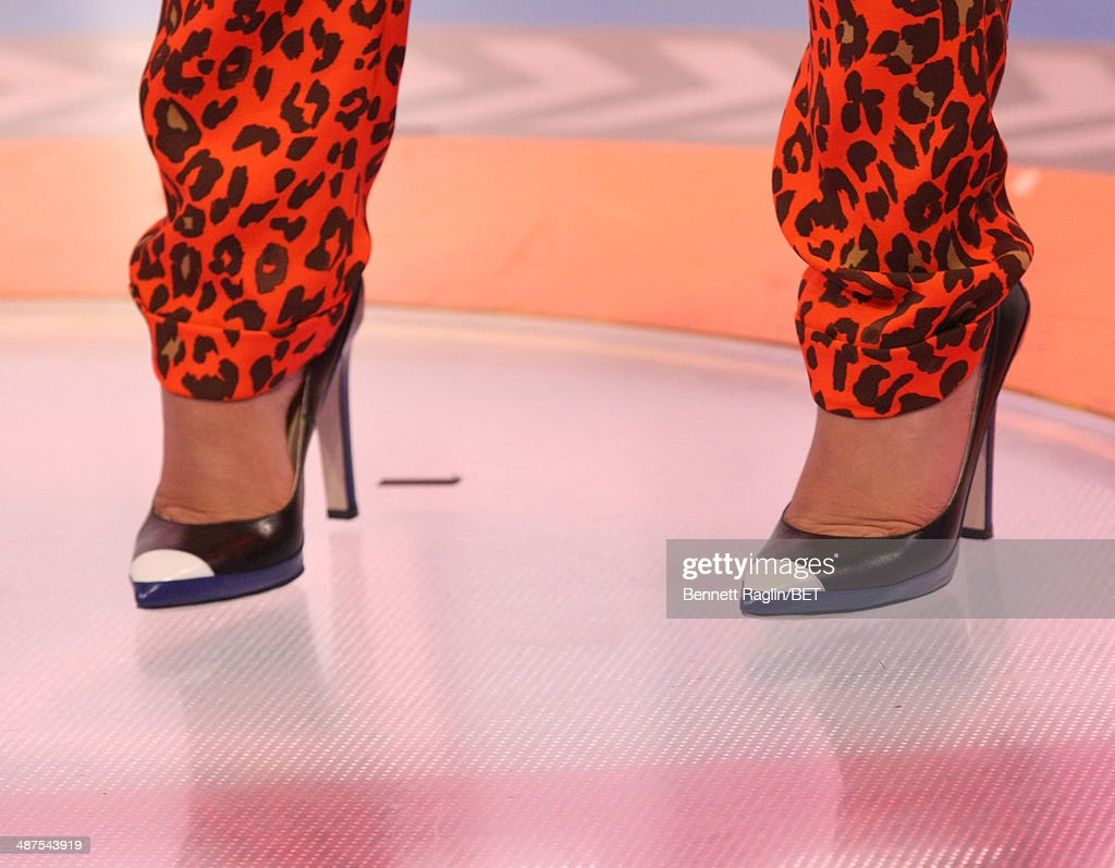 A general view of Tia Mowry's shoes during 106 & Park at BET studio on April 30, 2014 in New York City.