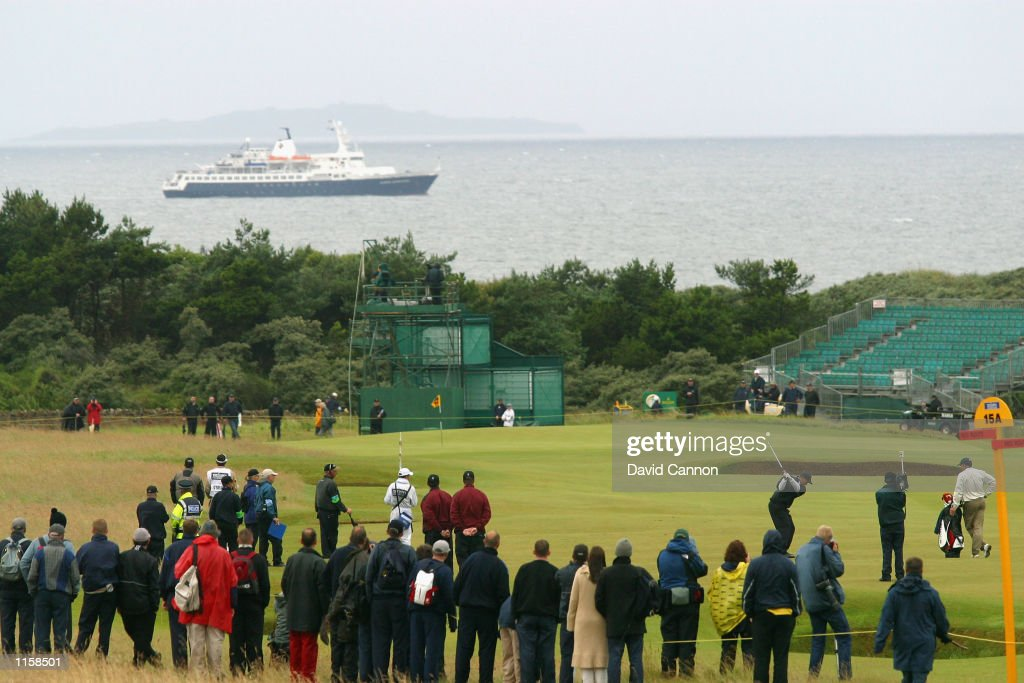 General view of Tiger Woods of the USA in action during the third round of the 131st British Open Championship at the Muirfield Golf Links in Gullane...