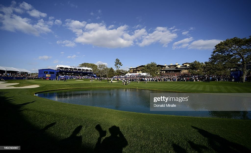 General view of Tiger Woods on the 18th green en route to his -14 under victory during the Final Round at the Farmers Insurance Open at Torrey Pines Golf Course on January 28, 2013 in La Jolla, California.