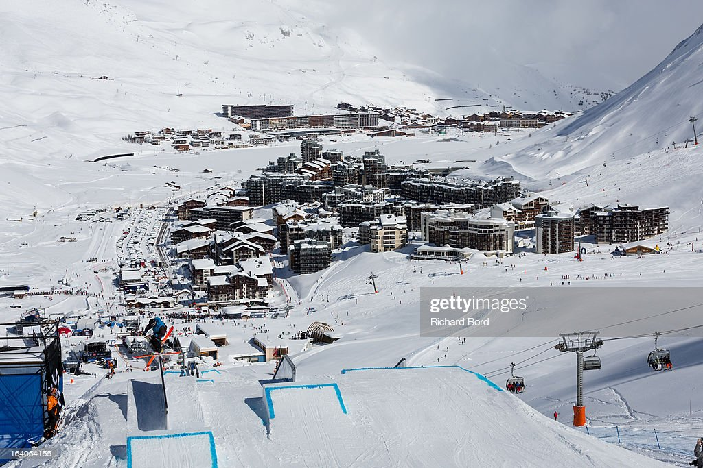A general view of Tignes during the Slopestyle ski training sessions during day two of Winter X Games Europe 2013 on March 19, 2013 in Tignes, France.