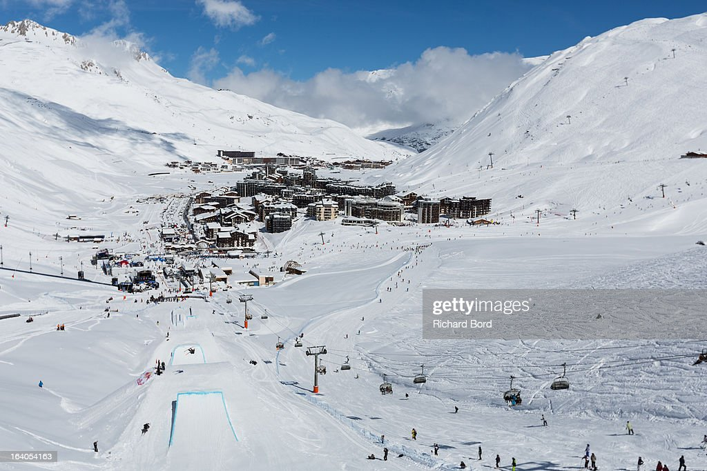 A general view of Tignes from the Slopestyle track during the Slopestyle ski training sessions during day two of Winter X Games Europe 2013 on March 19, 2013 in Tignes, France.