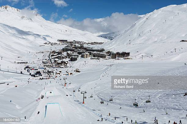 A general view of Tignes from the Slopestyle track during the Slopestyle ski training sessions during day two of Winter X Games Europe 2013 on March...
