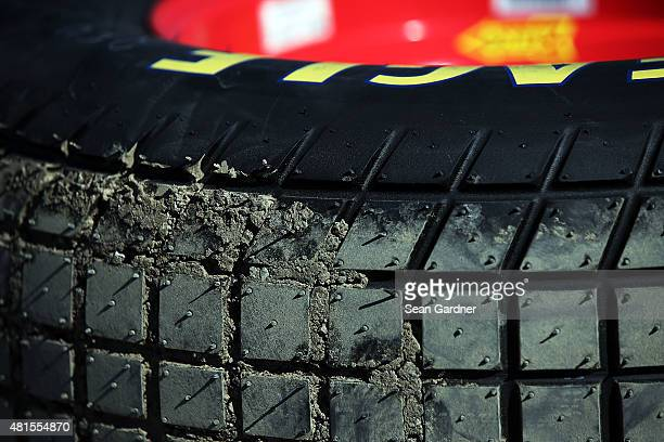 A general view of tire tread during practice for the 3rd Annual 1800CarCash Mud Summer Classic at Eldora Speedway on July 22 2015 in Rossburg Ohio